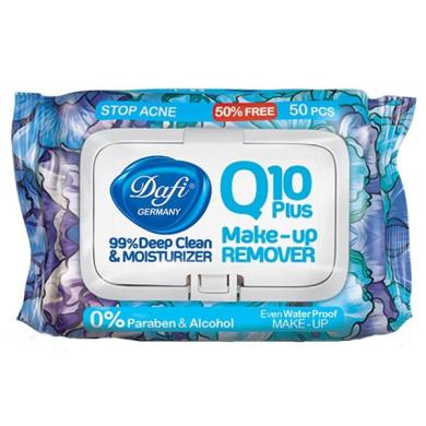 دستمال مرطوب پاک کننده آرایش Q10 دافی طرح گل آبی تعداد 50 برگ Dafi Q10 Wet Adult Wipes 50 Pcs