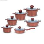 سرویس قابلمه 12 پارچه جی فی نی کد 026 نانو گرانیت طبیعی Giffini Nano Granite 026 Cookware Set 12 Pcs