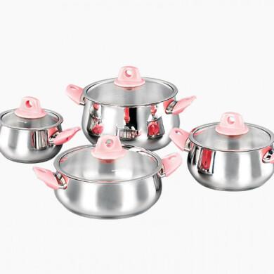 سرویس قابلمه استیل 8 پارچه کرکماز مدل مانولیا Korkmaz Manolia Cookware Set 8 Pcs