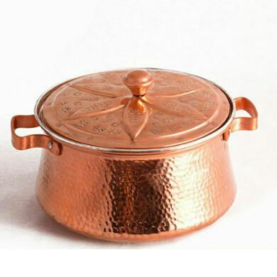 قابلمه مسی زنجان گلدار قلمکاری کد ۱۰۰۶۲ سایز 2 Zanjan flower pot with engraving, code 10062, size 2