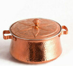 قابلمه مسی زنجان گلدار قلمکاری کد ۱۰۰۶۲ سایز 3  Zanjan flower pot with engraved code 10062, size 3