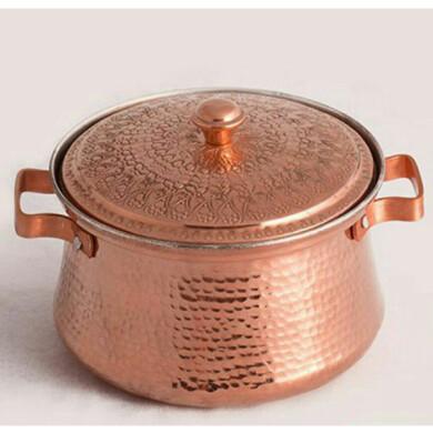 قابلمه مسی زنجان گلریز قلمکاری سنتی کد 10061 سایز 3 Zanjan Golriz copper pot, tradioitnal engraving, code 10061, size 3