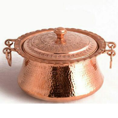 قابلمه مسی زنجان گلریز قلمکاری فانتزی کد 10011 سایز 4 Zanjan copper pot Golriz Fantasy engraving code 10011 size 4