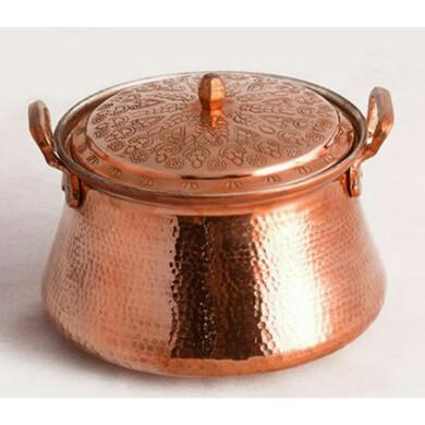 قابلمه مسی  گلریز قلمکاری کد 10041 سایز 2  Copper flower pot engraving code 10041 size 2