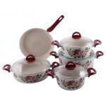 سرویس قابلمه 9 پارچه گرانیت لاویوا مدل ورا زرشکی Set of 9 pieces of Laviva Granite Vera Crimson pot