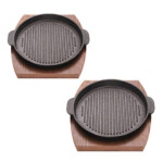 تابه چدن گریل نالینو مدل Fahita با زیره چوبی دوقلو Fahita Nalino grill cast iron pan with twin outsole