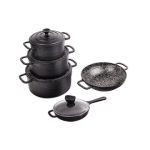 سرویس چدن نالینو ۹ پارچه مدل Dio (با جعبه چوبی) cast iron cookware set dio model 9 psc