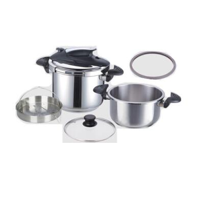 زودپز دو قلو 4 و 6 لیتر استیل یونیک کد 8621 4 and 6 liter unique twin pressure cookers, code 8621