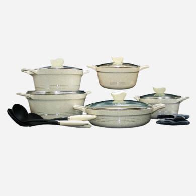 سرویس قابلمه 13 پارچه کلاسیک کرمی گرانیتی یونیک کد 7869 Unique classic cream granite pot service , 13-piece,code 7869