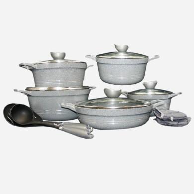 سرویس قابلمه 13 پارچه کلاسیک نقره ای یونیک صادراتی کد 7895  classic silver pot service unique,13-piece, export code 7895