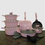 سرویس قابلمه 16 پارچه کلاسیک گرانیتی صورتی یونیک 7707 Unique classic pink granite pot service , 16-piece,code 7707