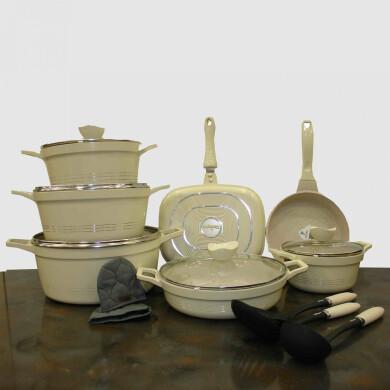 سرویس قابلمه 16 پارچه کلاسیک کرمی گرانیتی یونیک کد 7709 Unique classic cream granite pot service , 16-piece,code 7709