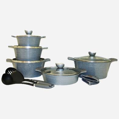 سرویس قابلمه 13 پارچه لاین نقره ای یونیک کد 7894 Pot service unique silver line, code 7894,13 pieces